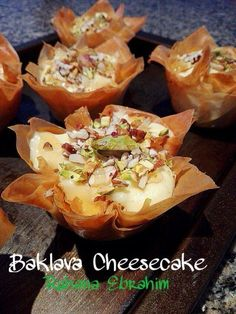 Baklava Cheesecakes recipe by Ruhana Ebrahim posted on 03 Apr 2017 . Recipe has a rating of 5.0 by 2 members and the recipe belongs in the Desserts, Sweet Meats recipes category Baklava Cheesecake, Baklava Recipe, Cheesecake Recipes, Greek Desserts, Indian Desserts, Greek Recipes, Small Desserts, Sweet Meat Recipe, Sweets Recipes