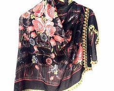 Scarf Aprons Placamats Doilies Handmade by sorahandmadeshop Cotton Scarf, Cotton Fabric, Head Turban, Types Of Lace, Lace Wrap, Needle Lace, Crochet Lace, Womens Scarves, Black Cotton