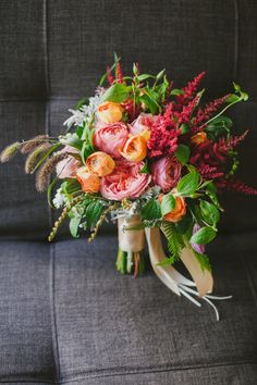 bright pink and orange bouquet | Jerry Yoon Photographers | Glamour & Grace Bridesmaid Bouquet, Bride Bouquets, Flower Bouquet Wedding, Floral Wedding, Wedding Colors, Rustic Wedding, Palate Garden, Glamorous Wedding, Ribbons