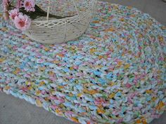 Rag Rug Crochet Handmade Repurposed Vintage by AMarigoldLife, $69.00