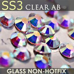 SS3 1.3-1.4mm Clear AB Nail Rhinestones to Nails Art Glitter Crystal Decoration Fashion Non HotFix Rhinestone Decor strass stone