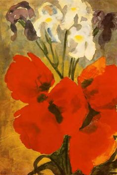 Born to a peasant family, German painter Emil Nolde [1867-1956]carved wood for a living and came late to painting. Though briefly a member of Die Brücke 1906-07, he was essentially a solitary painter. Fervently religious and racked by a sense of sin, he created such works as Dance Around the Golden Calf 1910, in which the figures' erotic frenzy and demonic faces are rendered with deliberately crude draftsmanship and dissonant colors.