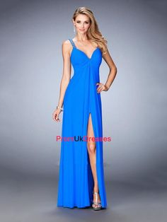 Sexy V-neck Gathered Bodice With Beaded Straps Chiffon Prom Dress PD12211