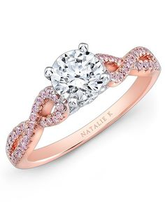 Engagement ring with pink diamonds twisted along18K rose gold shank I Style: NK28670PK-18WR I Le Rosé Collection by Natalie K I http://knot.ly/6490B0af0
