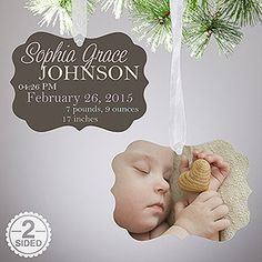 Baby Announcement Photo Christmas Ornament - this is SO beautiful! You can personalize it with their newborn photos plus all their birth info!