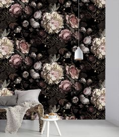 'Dark Floral II' Wallpaper by Ellie Cashman