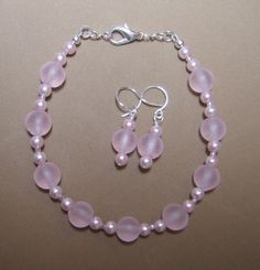Pink frosted lampwork glass bead bracelet / silver plated earrings set by ValeriasJewelry, $7.50 with coupon code AMIGO25! 25% off everything in store!