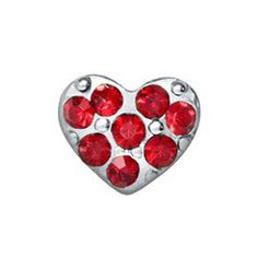 Silver Heart with Red Crystals $5