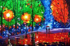 rain painting couple rainy park original oil on canvas signed wall art MALORCKA #Impressionism