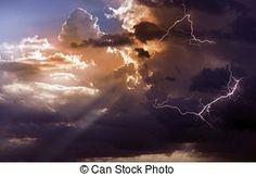 Beautiful Storm During Sunset Lightnings Between Clouds...