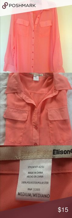 Beautiful Blouse! Beautiful sheer pink/peach blouse from Ellison. Size medium. Sheer, sleeve can roll half way up. Very pretty and phenomenon on! Excellent condition! Tops Button Down Shirts