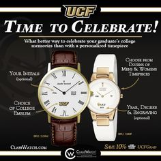 any time with ucf logo customized watches made by classwatch the worlds premier watch brands personalized by you ps save with the code ucfgrad