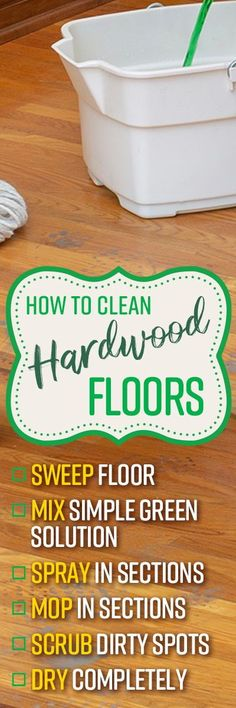Simple Green All-Purpose Cleaner is great for cleaning up spills and scuffmarks, and tackling dirty areas without degrading the finish of your wood flooring like vinegar or other acidic chemicals.