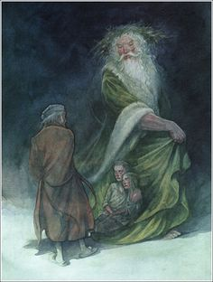 Illustrator P. J. Lynch.  Charles Dickens' A Christmas Carol.  The children's names are Ignorance and Want, shown to Scrooge by the Ghost Of Christmas Present.