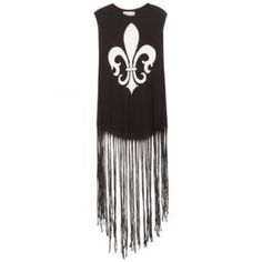 Wildfox Fleur De Lis Fringed Tank Top Sleeveless cotton top by Wildfox, black with white Fleur De Lis across chest. Loose style, long fringe hem goes below knees. Gently worn. Wildfox Tops