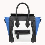 Vanessa Mini Tote In Smooth Leather Black Blue And White