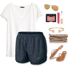 A fashion look from December 2015 featuring H&M t-shirts, NIKE and Tory Burch sandals. Browse and shop related looks.