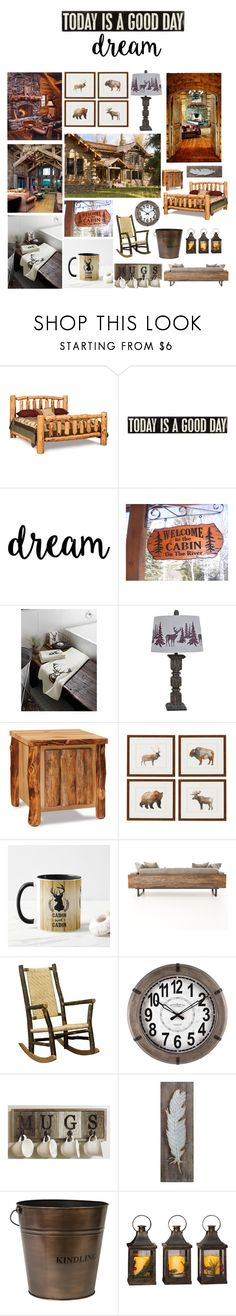 """""""A Log Cabin Home"""" by max-chance ❤ liked on Polyvore featuring interior, interiors, interior design, home, home decor, interior decorating, DutchCrafters, Primitives By Kathy, Simons Maison and Crestview Collection"""