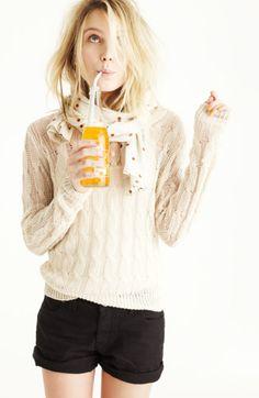 Good idea for a kick-back cocktail  Sweater, Shorts, & Polka Dots // Dree Hemingway, Madewell