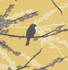 "Aviary 2 Sparrows Cavern Vintage Yellow JD41 36"" x44"" 1/2 Yard Quilt Designer Fabric BTY by Joel Dewberry for Freespirit"