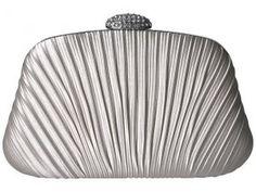 Jessica McClintock Brianna Satin with Stone Closure (Silver) Handbags