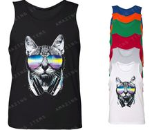 Dj Cat With Sunglasses and Headphones Men's Tank Top Shirt Funny Cool Music Lover Tees by Amazingitems4u on Etsy https://www.etsy.com/listing/234687946/dj-cat-with-sunglasses-and-headphones