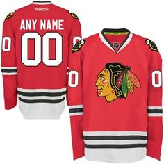 Mens Chicago Blackhawks Red Reebok EDGE Authentic Custom Home Jersey