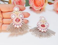 Items similar to Boho Soutache Earrings Bohemian Tassel Girly Pink Rose Grey silver Earrings, Colorful Statement Large Long Lightweight Beach Party Earrings on Etsy Soutache Earrings, Rose Earrings, Tassel Earrings, Statement Earrings, Silver Earrings, Acrylic Beads, Personalized Gifts, Tassels, Glass Beads