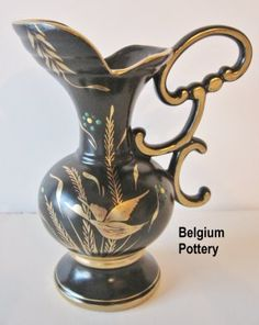 Belgium Pottery Pitcher with Bird Motif @ Vintage Touch $15.00