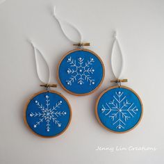 Set of 3 Snowflake Christmas Ornaments by JennyLinCreations