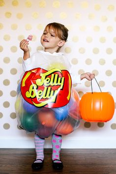 Everyone will be tickled at this adorable DIY Jelly Belly costume. It is the perfect look for your little one for Halloween.