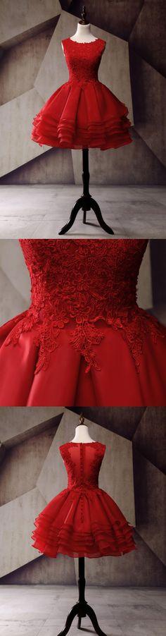 Short Homecoming Dress, Organza Homecoming Dress, Lace Homecoming Dress, Applique Junior School Dress, Red Graduation Dress, 17300