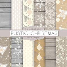 Rustic christmas digital paper by burlapandlace on Creative Market