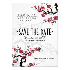Cherry Blossom Oriental Wedding Save the Date Custom Invitation
