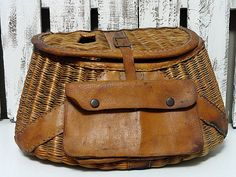 Vintage Fishing Creel  Wicker and Leather