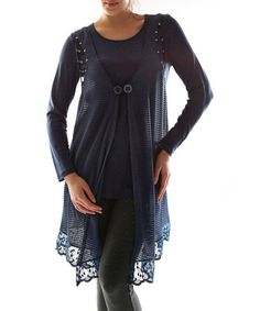 Love this Navy Blue Double-Button Layered Top - Plus on #zulily! #zulilyfinds