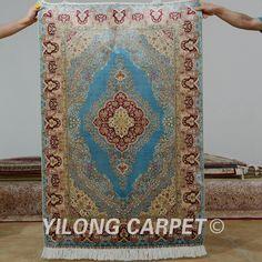 Yilong 3'x4.5' Antique persian silk tabriz carpet exquisite blue vintage oriental rugs (0571)