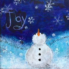 Joy by Betsy Walcheski. acrylics, pencil, tissue paper, stamps and ink. ArtbyBets
