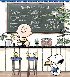 Snoopy and Charlie Brown serving food and Java at Snoopy cafe Snoopy Cafe, Snoopy And Woodstock, Peanuts Snoopy, Charlie Brown Cafe, Charlie Brown And Snoopy, Snoopy Images, Snoopy Pictures, Charlie Brown Costume, Charlie Brown Characters