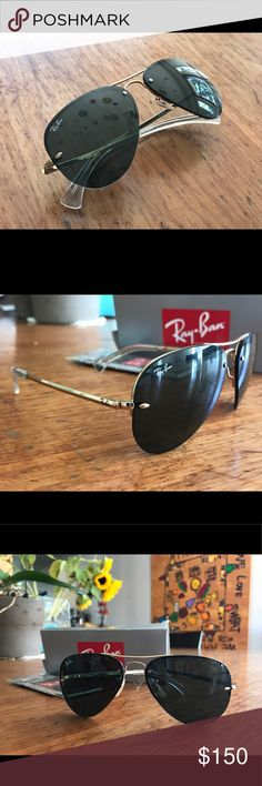Ray Ban Aviators- BRAND NEW Frameless gold and black aviators. Super sleek and stylish, and goes with everything! Brand new never worn before. Black lenses in perfect condition. Ray-Ban Accessories Sunglasses