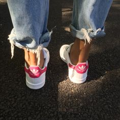 Pink Stans with Frayed Denim