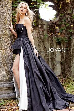 Sweetheart Neck Black and White Couture Dress 61296 #BlackDresses #WhiteDresses #Formal #Prom #Jovani