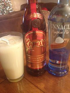 My favorite drink creation..... one shot Kahlua cinnamon spice, one shot pinnacle pumpkin pie vodka and 6 oz milk shaken and poured over ice! Its a  Russian Pumpkin Pie!