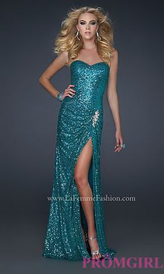 Floor Length Strapless Sequin Dress at PromGirl.com