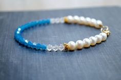 Turquoise Crystal Beaded Summer Bracelet Thin by SidandElla, $27.00