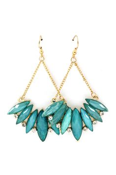 Iridescent Teal Marquise Earrings