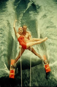 Water Ski Demonstration - Man and Woman - about 1950 | by Mike Leavenworth