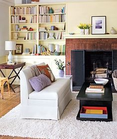 Imagine living room shelves as display space for your favorite books, photographs, and family heirlooms.