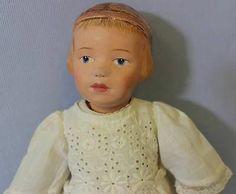 "14"" Antique SCHOENHUT Doll c1912 MODEL 101 Girl CARVED HAIR & BAND Intaglio Eyes"