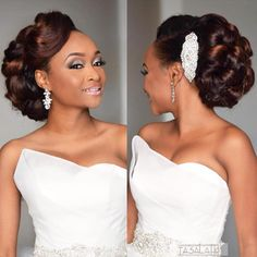 Hair coloured installed and styled by Makeup by Dress by Event planning by Absolutely gorgeous bride Dapola. Hair coloured installed and styled by Makeup by Dress by Event planning by Black Brides Hairstyles, African Wedding Hairstyles, Natural Wedding Hairstyles, Loose Hairstyles, Bride Hairstyles, Hairdo Wedding, Bridal Hair Updo, Wedding Hair And Makeup, Ponytail Wedding Hair